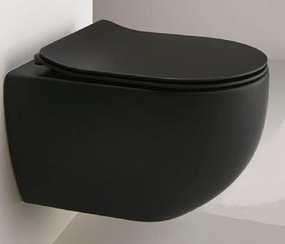 Alterna Arco Toalettsete, svart matt Slimline, myktstengende, enkel av/på