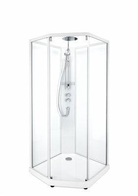 Porsgrund Showerama 10-5 Comfort pentagonal, hvite profiler og klart glass framparti/frostet glass bakparti 900x800