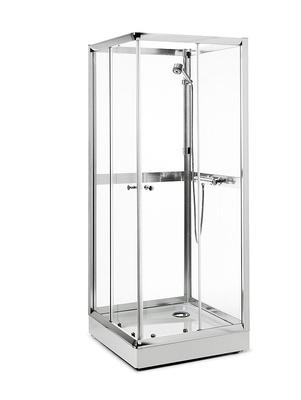 Dusjkabinett, 800x800 mm, hvit/klar, firkantet