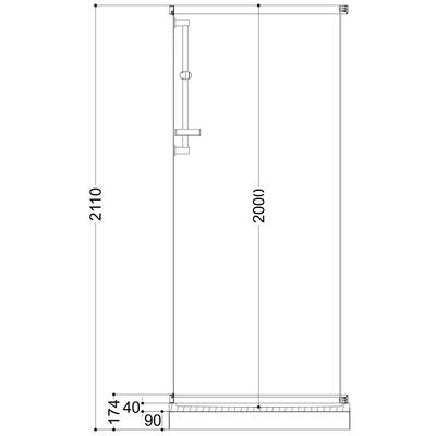 Roma dusjkabinett 70x90x211 Basic, Hvit/hvitt, venstre
