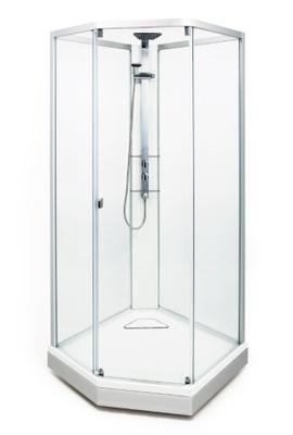 DUSJKABINETT 90x90 8-5 Lav modell. Klartglass med frostet bakparti.