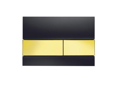 Tece TECEsquare betjeningsplate, svart glass/gull-knapper